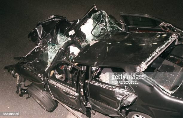 File photo dated 31 August 1997 shows the wreckage of Princess Diana's car in the Alma tunnel of Paris The father of Princess Diana's dead lover...
