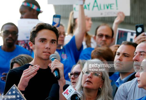 File photo dated February 17 2018 shows Marjory Stoneman Douglas High School student David Hogg speaking at a rally for gun control at the Broward...