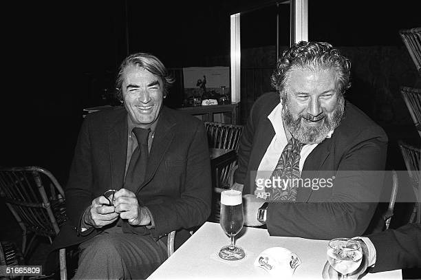 File photo dated May 1972 shows Sir Peter Ustinov British actor and dramatist with actor Gregory Peck at the Cannes Film Festival Ustinov who had...