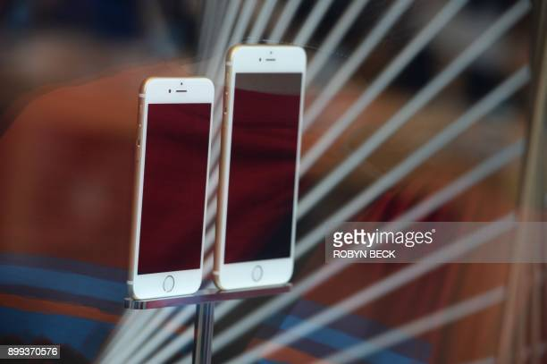 File photo dated September 19 2014 shows the iPhone 6 and 6 Plus on display at the Apple store in Pasadena California Apple apologized December 28...