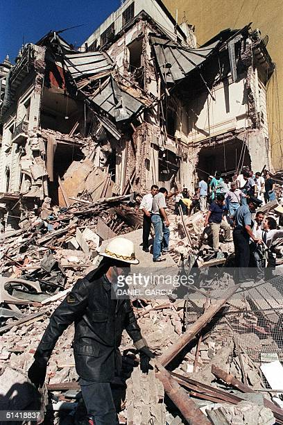 A file photo dated17 March in Buenos Aires shows the destruction of the Israeli embassy in Argentina after a massive bomb attack Israel lent its full...