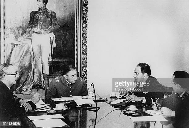 First picture ever of the Chilean Junta at Defense Ministry. They were discussing concentration camps. Photographed during the aftermath of the coup...