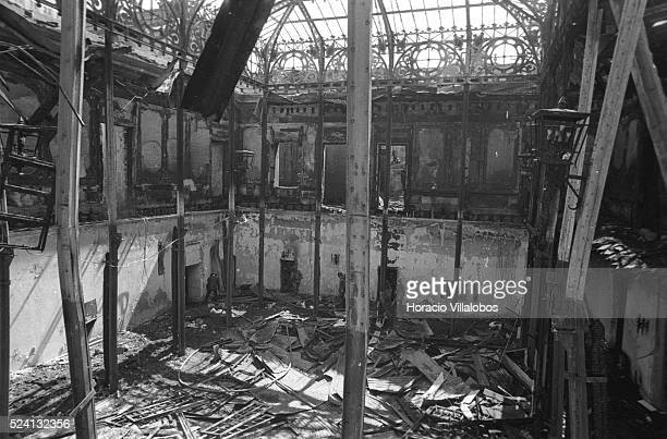 La Moneda winter garden destroyed during the air attack in the coup d'etat led by Commander of the Army General Augusto Pinochet in Santiago...