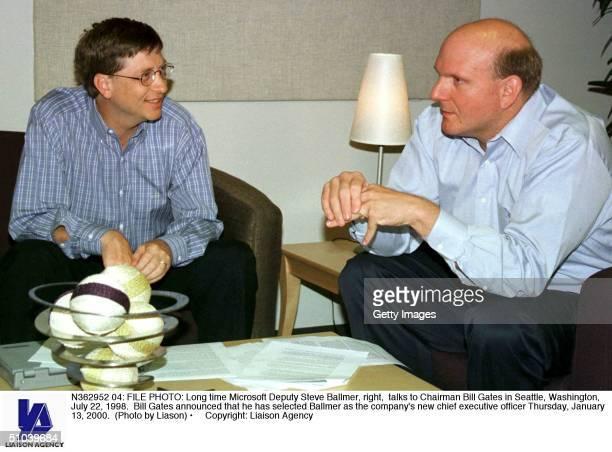 File Photo: Long Time Microsoft Deputy Steve Ballmer, Right, Talks To Chairman Bill Gates In Seattle, Washington, July 22, 1998. Bill Gates Announced...