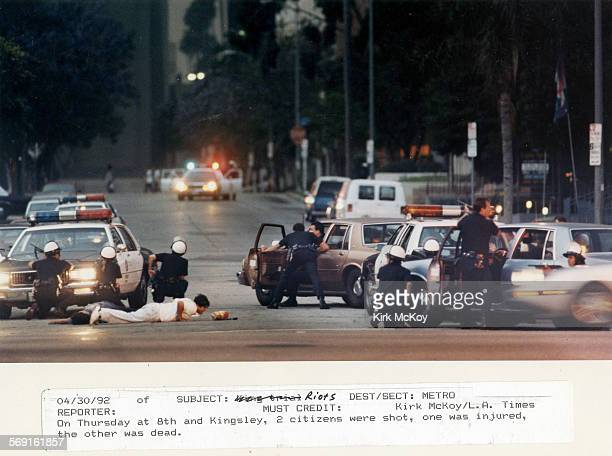 4/30/1992 file photo of corner of 8th and Kingsley were two citizens were shot during the Los Angeles Riots