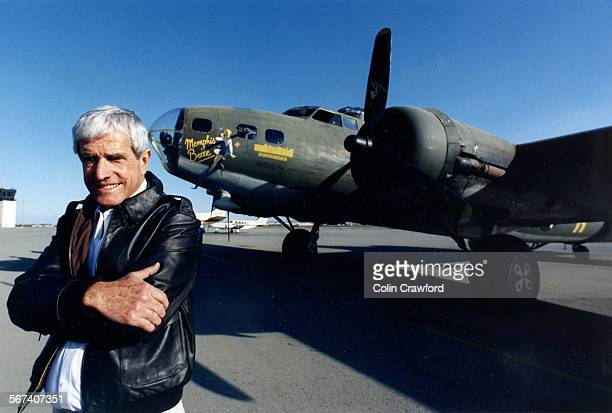 1990 file photo of David Tallichet with the B–17 used in the movie Memphis Belle at Chino airport Tallichet's company owns the B–17 He flew B–17s...