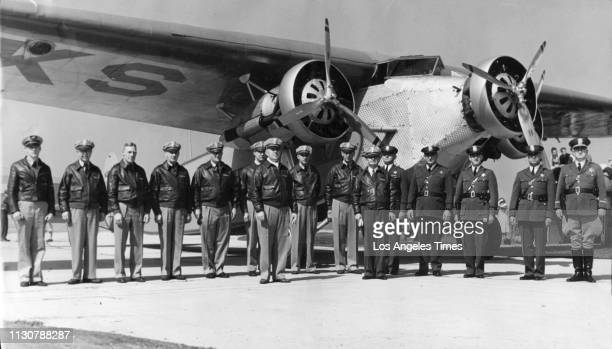 1934 file photo of Sheriff Eugene Biscalluz's Aero Squadron which began as a volunteer squadron in 1920's March 4 1934 Members of Los Angeles County...