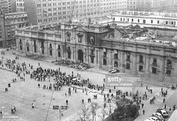 Presidential palace La Moneda at midafternoon in the aftermath of the coup d'etat led by Commander of the Army General Augusto Pinochet