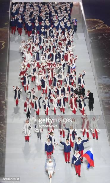 File photo shows athletes of the Russian Olympic team during the opening ceremony for the 2014 Winter Olympic Games in Sochi Russia on Feb 7 2014 The...