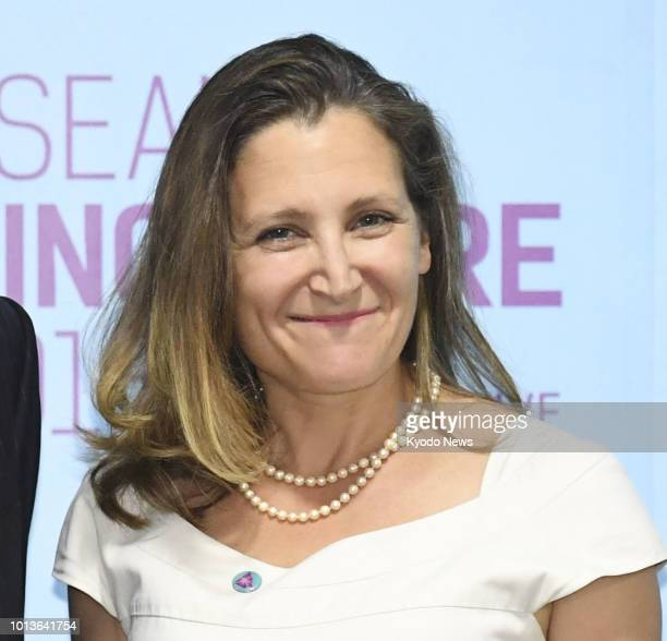 File photo shows Canadian Foreign Minister Chrystia Freeland in Singapore on Aug 2 2018 ==Kyodo