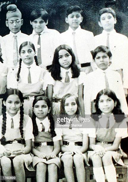A file photo shows Kalpana Chawla sitting center with long hair next to her classmates at Tagore Baal Niketan School in Karnal 130 kilometers from...