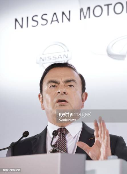 File photo shows Nissan Motor Co president Carlos Ghosn meeting the press in Yokohama in May 2016 to announce the automaker's earnings results for...