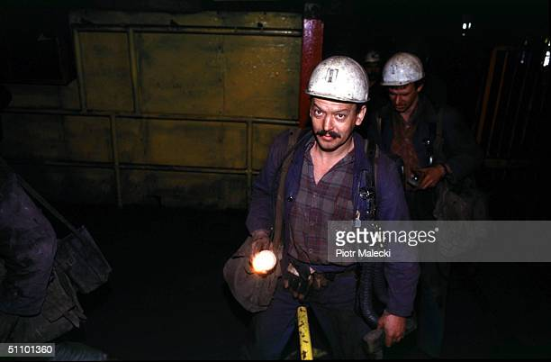 Silesian Coal Miners Leave The Lift After Finishing Their Shift At The Sosnica Coal Mine In Szczyglowice Poland May 6 1998 About 400 Polish Miners...