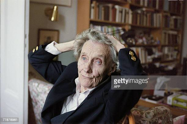 A file photo taken 04 April 1977 shows Swedish writer Astrid Lindgren giving an interview with German magazine Stern at her home in Stockholm...