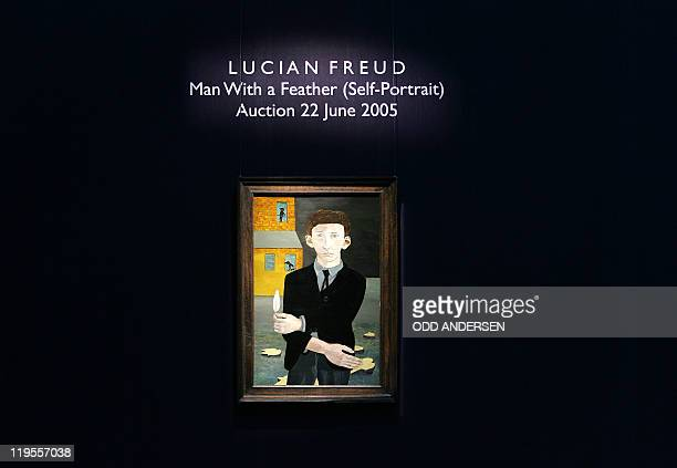"""File photo taken 26 May 2005 shows British artist Lucien Freud's """"Man With Feather """" hanging at Southby's Auction House in London. The first..."""