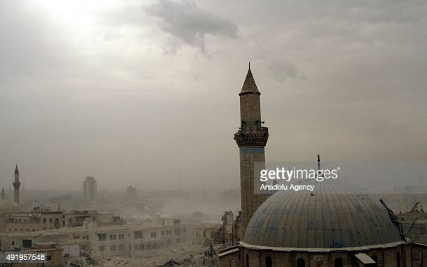 A file photo taken by AA photojournalist Saleh Mahmoud Laila shows Aleppo after a bomb attack of The Islamic Front against Syrian regime forces in...