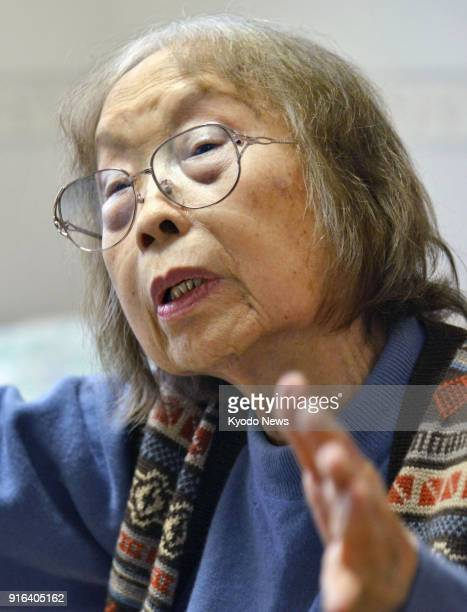 File photo taken in April 2015 shows Michiko Ishimure a Japanese author known for her books on Minamata mercury poisoning disease speaking during an...