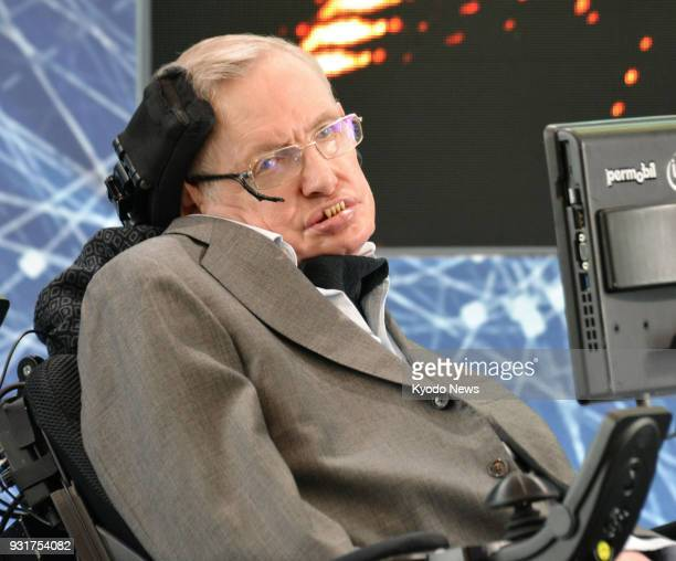 File photo taken in April 2016 shows British physicist Stephen Hawking world renowned for his studies on black holes attending a press conference in...