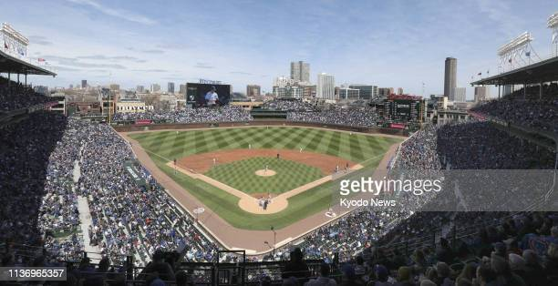 File photo taken in Chicago on April 13 shows Wrigley Field home of the major league baseball team Chicago Cubs ==Kyodo