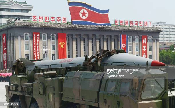 File photo taken in July 2013 shows a Scud ballistic missile on display during a military parade in Pyongyang's Kim Il Sung Square On May 29 North...