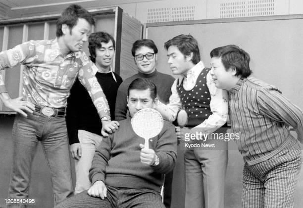 File photo taken in March 1974 shows rock band and comedy group the Drifters Ken Shimura died of pneumonia caused by the novel coronavirus on March...