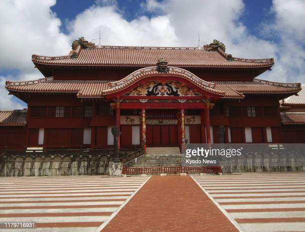 File photo taken in Naha Okinawa Prefecture southern Japan in August 2014 shows Shuri Castle A predawn fire on Oct 30 engulfed the buildings at the...