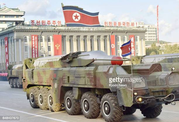 File photo taken in October 2015 in Pyongyang is of a North Korean intermediaterange ballistic missile on display during a military parade ==Kyodo