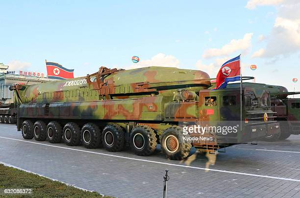 File photo taken in October 2015 shows a KN-14 intercontinental ballistic missile in a military parade at Pyongyang's Kim Il Sung Square. North Korea...