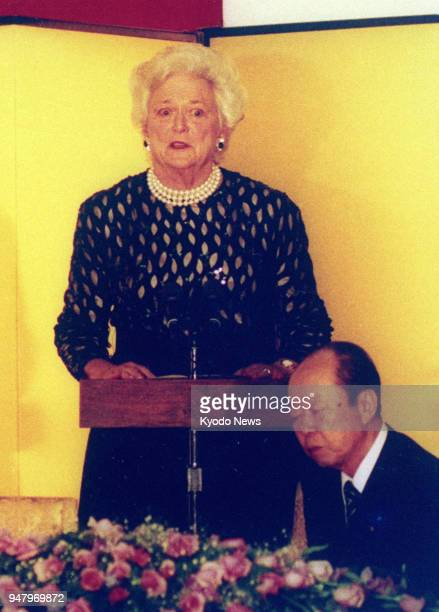 File photo taken Jan 8 shows Barbara Bush wife of US President George Bush making an impromptu speech after her husband fainted during a banquet...