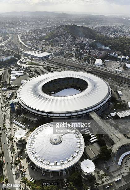 File photo taken June 28 from a helicopter shows a gymnasium to be used during the Rio de Janeiro Olympics for volleyball competition and the...