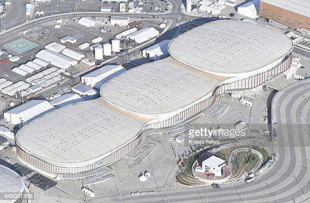File photo taken June 28 from a helicopter shows the Carioca Arena which is to be used for basketball fencing judo taekwondo and wrestling...