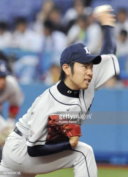 File photo taken June 30 shows Yusei Kikuchi of the Seibu Lions pitching en route to his first career win The Lions posted Kikuchi for major league...