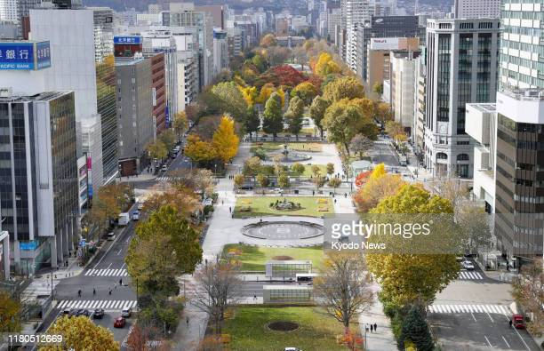 File photo taken Oct. 30 shows Odori Park in Sapporo, Hokkaido. The Tokyo Olympics' organizing committee is planning to start and end the marathon...