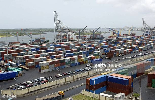 A file photo taken on April 12 2005 shows the Apapa Terminal parked full with containers in the main Nigerian seaport in Lagos Since January 2009 the...