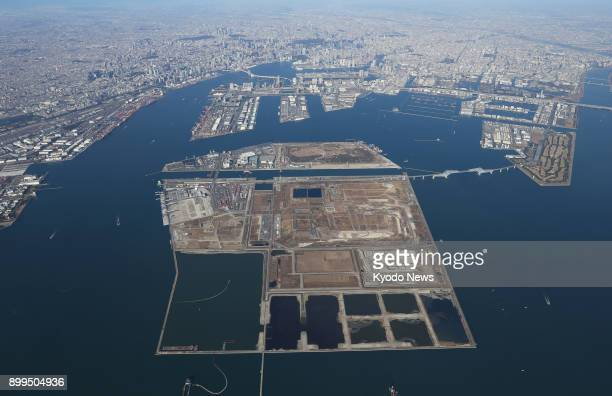 File photo taken on Dec 23 shows an aerial view of the Central Breakwater landfill sites in Tokyo Bay ==Kyodo