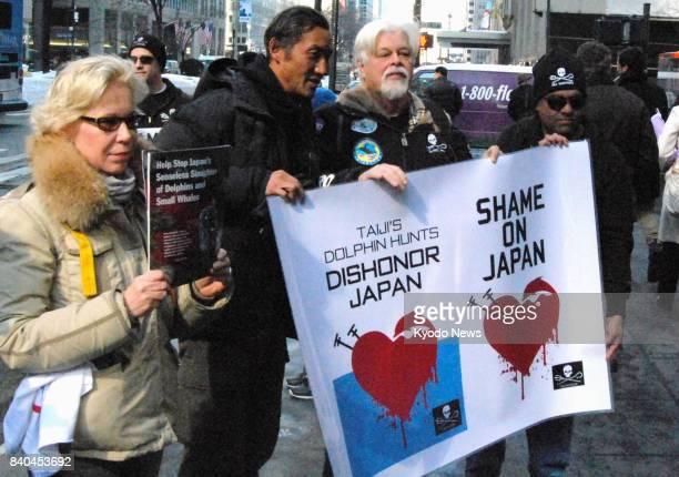 File photo taken on Feb 14 shows Paul Watson founder of environmental activist group Sea Shepherd staging a protest against Japan's socalled...