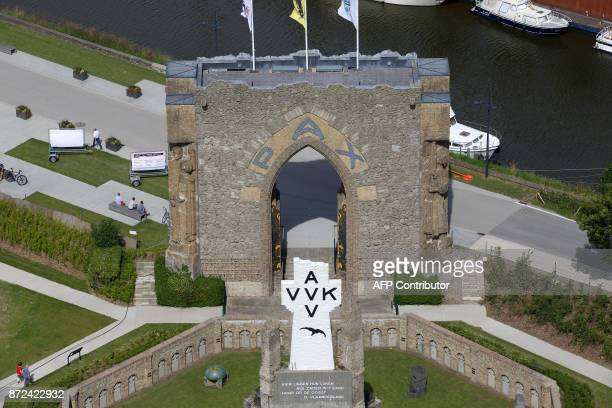 A file photo taken on July 9 shows the Pax Gate during the 'Vlaanderen Feest aan de Ijzer' event marking the Flemish regional holiday which falls on...