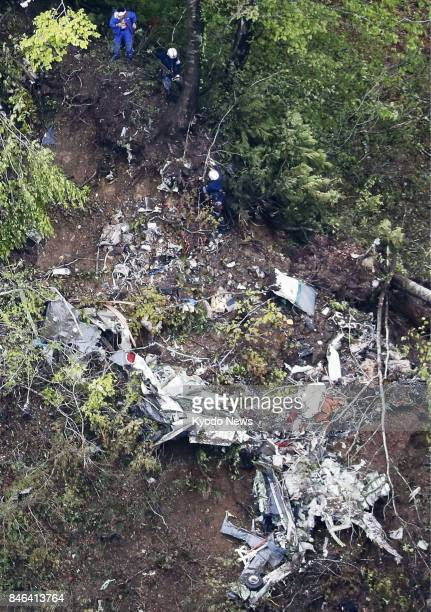 File photo taken on May 16 shows the wreckage of a Ground SelfDefense Force aircraft which crashed into a mountain in Japan's northernmost main...