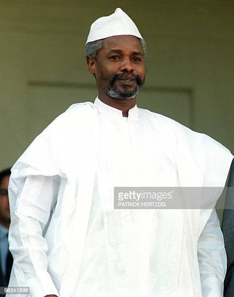 File photo taken on October 21, 1989 shows then-Chadian President Hissene Habre on an official visit in Paris. Ten years after Chadian dictator...