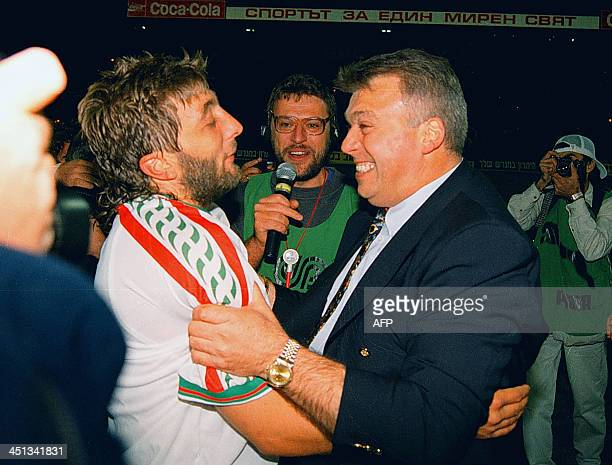 A file photo taken on September 10 shows Bulgarian former soccer star Trifon Ivanov and Bulgarian head coach Hristo Bonev after their match against...