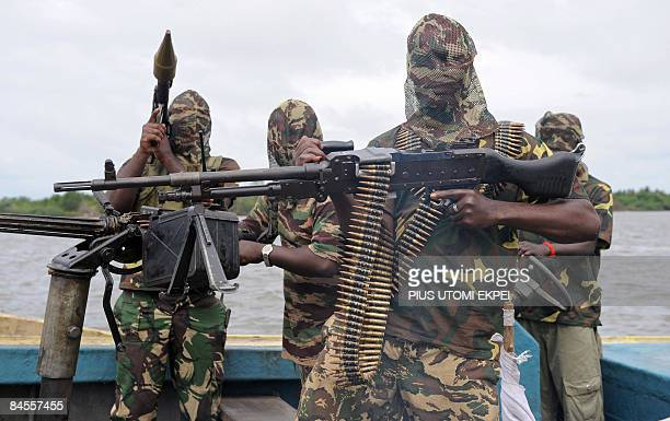 File photo taken September 17 2008 shows fighters of the Movement for the Emancipation of Niger Delta as they prepare for an operation against the...