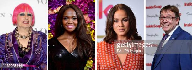 File photos of Dame Zandra Rhodes Oti Mabuse Vicky Pattison and Adam Woodyatt who are all slated to be contestants on the new series of Celebrity...