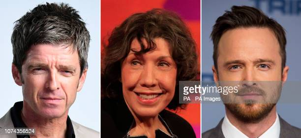 File photos of Noel Gallagher Lily Tomlin and Aaron Paul