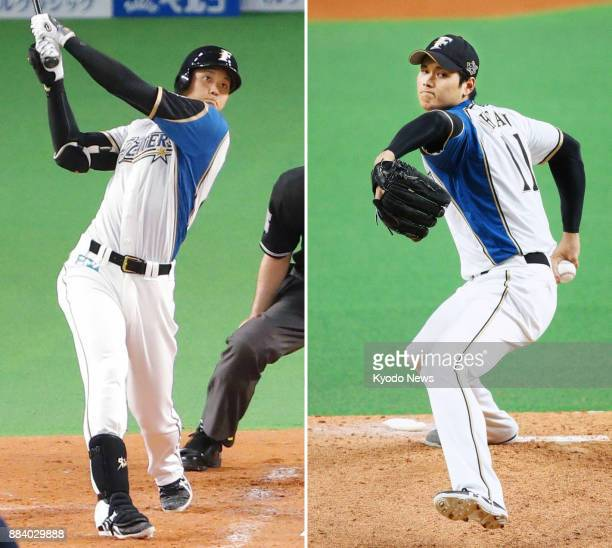 File photos taken on April 2 2017 and Oct 4 show Nippon Ham Fighters twoway talent Shohei Otani who cleared the final hurdle in his path toward...