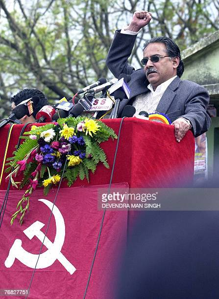 File picture dated 13 February 2007 shows Nepal's Maoist Chairman Prachanda gesturing as he addresses a rally in Kathmandu Nepal's Maoists announced...