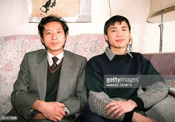 File picture dated 18 February 1993 showing Chinese student leader Wang Dan sitting beside an early visitor fellow prodemocracy activist Ma Shaofang...