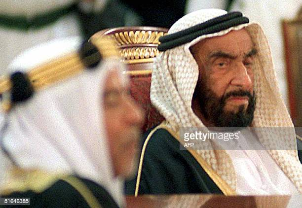 File picture dated 20 December 1997 shows United Arab Emirates President Sheikh Zayed Bin Sultan alNahyan at the opening session of a Gulf...