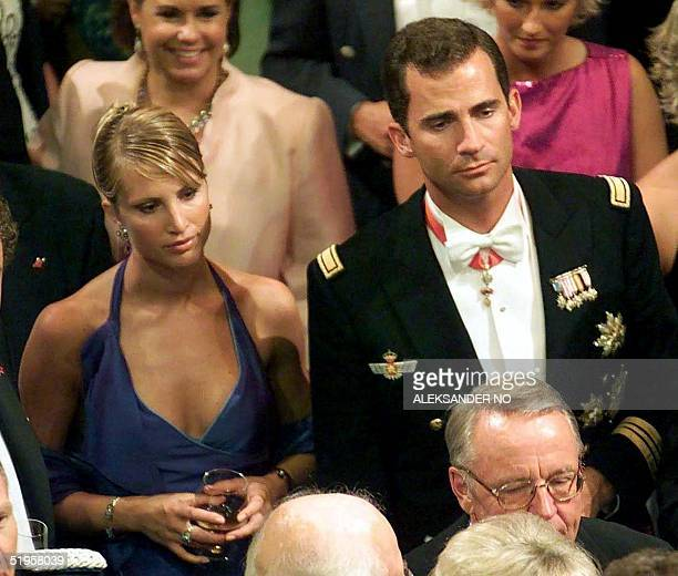 File picture dated 25 August 2001 of Spanish Prince Felipe and his then girlfriend Norwegian model Eva Sannum The 33yearold heir to the Spanish...