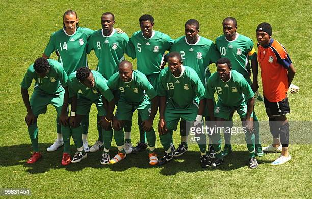 A file picture dated August 23 2008 shows from top L Nigerian forward Peter Odemwingie midfielder Sani Kaita defenders Dele Adeleye and Chibuzor...