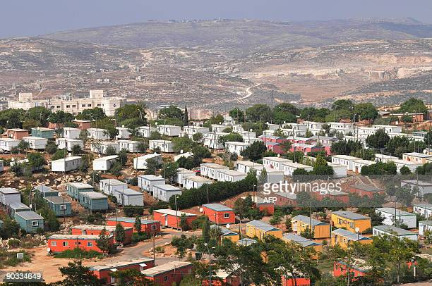 File picture dated August 23 2009 shows a general view of prefabricated houses for students at a local college in the Jewish settlement of Ariel in...